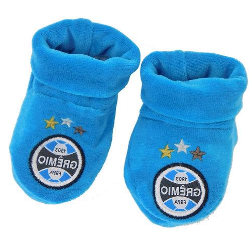 R.G6551B Sapatinho Grêmio Para Bebê Azul Meia Para Bebê