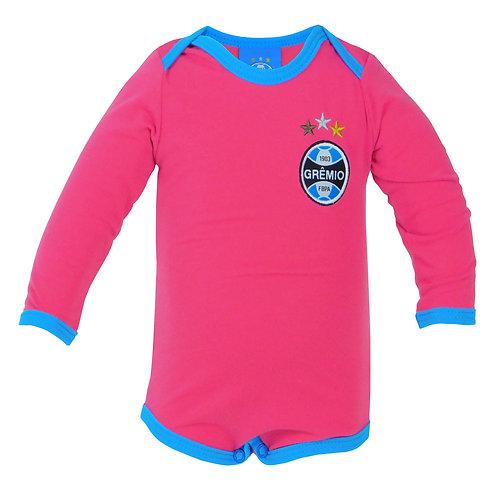 R.G686B Body Grêmio Rosa Com Azul Para Bebê Menina Manga Comprida