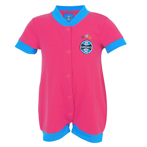 R.G689B Macacão Grêmio Curto Para Bebê Rosa Com Azul Grêmio Bebê
