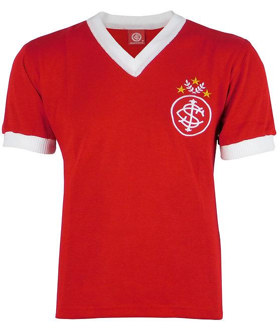 R.INT394 Camisa Retrô Internacional Lisa Vermelha N° 7