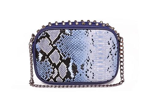 R.40071 Bolsa Feminina Clutch Azul De Festa Em Cobra Pyton Alça De Corrente