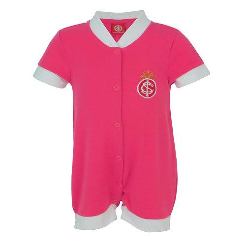 R.INT546B Macacão Internacional Curto Rosa Com Branco Inter Bebê RN