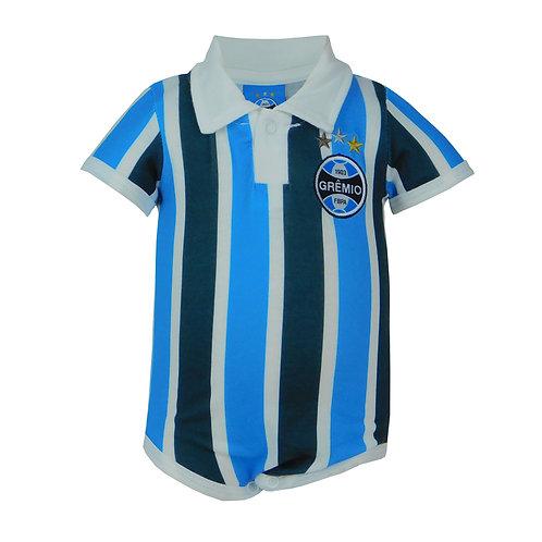 R.G681B Body Grêmio Gola Polo Tricolor Para Bebê Manga e Perna Curta