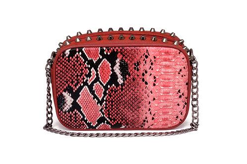 R.40074 Bolsa Feminina Clutch Vermelha De Festa Em Cobra Pyton Alça De Corrente