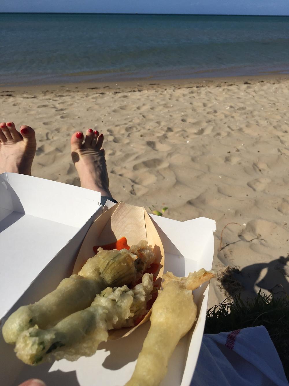 ZUCCHINI FLOWERS ON THE BEACH