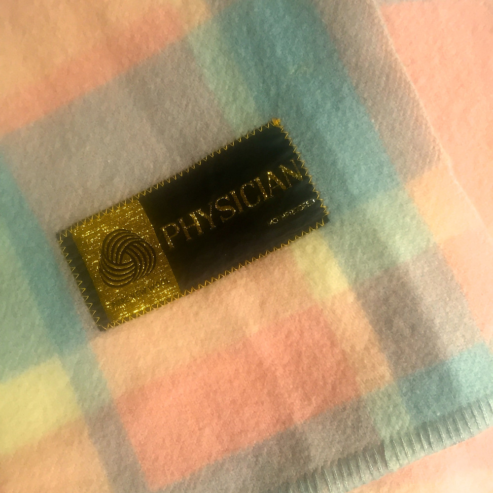 A VERY MODERN PHYSICIAN BLANKET, ONLY ABOUT 50 YEARS OLD.