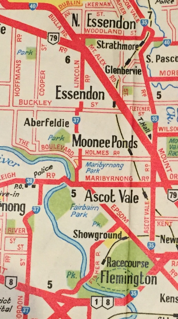 STARTED OFF IN CHEWTON, VIA 1 IN WOODEND THEN JUMPED TO ESSENDON, MOONEE PONDS, ASCOT VALE & FLEMINGTON