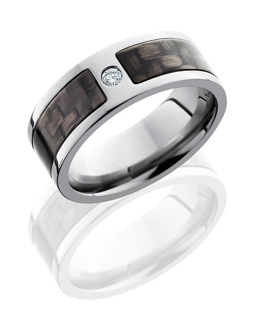 Titanium & Diamond Men's Ring