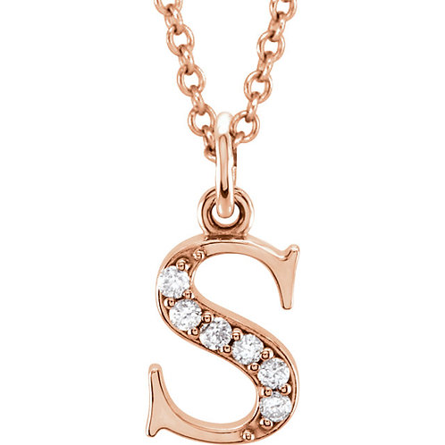 """For You"" Diamond Lowercase Initial Necklace"