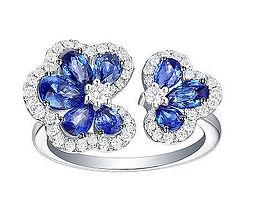 Sapphire Diamod Flower White Gold Ring
