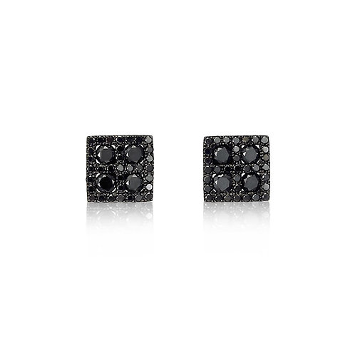"""""""Chessmen"""" Black Diamond Earrings"""