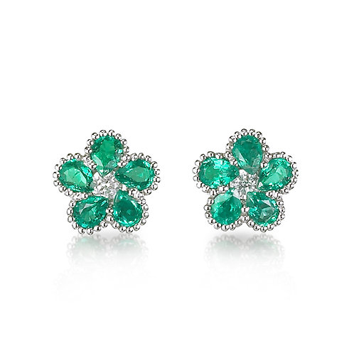 """""""Victoria Blossoms"""" Emerald Earrings"""