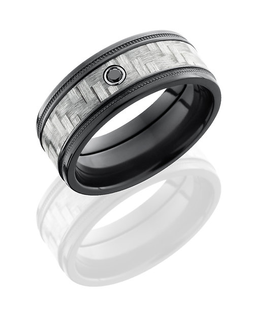 Zirconium & Black Diamond Men's Ring