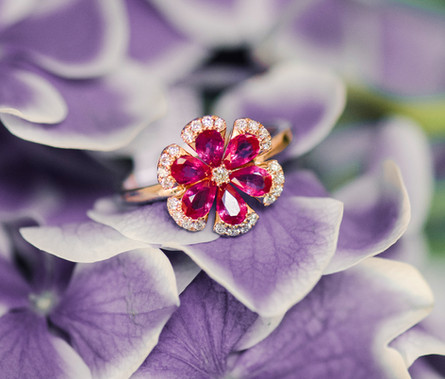 Ruby Flower Rose Gold Ring