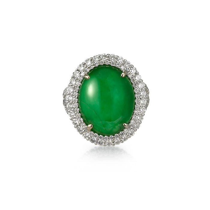 """Yasmina"" Jadeite Jade Ring -  Front View"