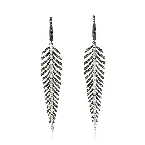 """Black Diamond Plumes"" Feather Earrings"