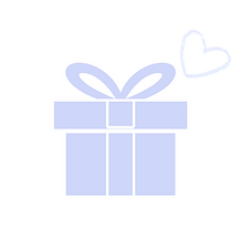 blue gift box with ribbon and heart