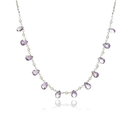 """Sydna"" Amethyst & Pearl Necklace"