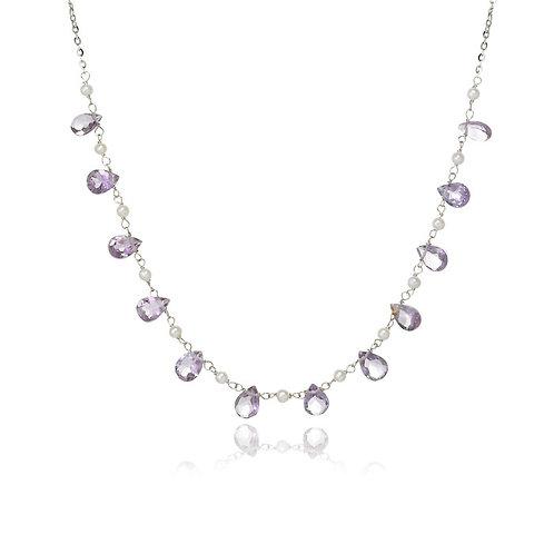 """Sydna"" Amethyst & Pearl Necklace"