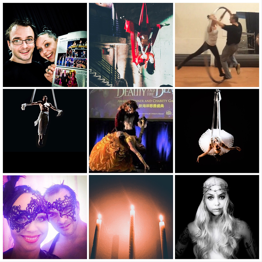 Photos from Duo Rêves performing aerial dance, corporate events, and wedding entertainment