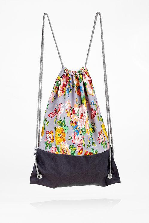 Plecak w kwiaty szary