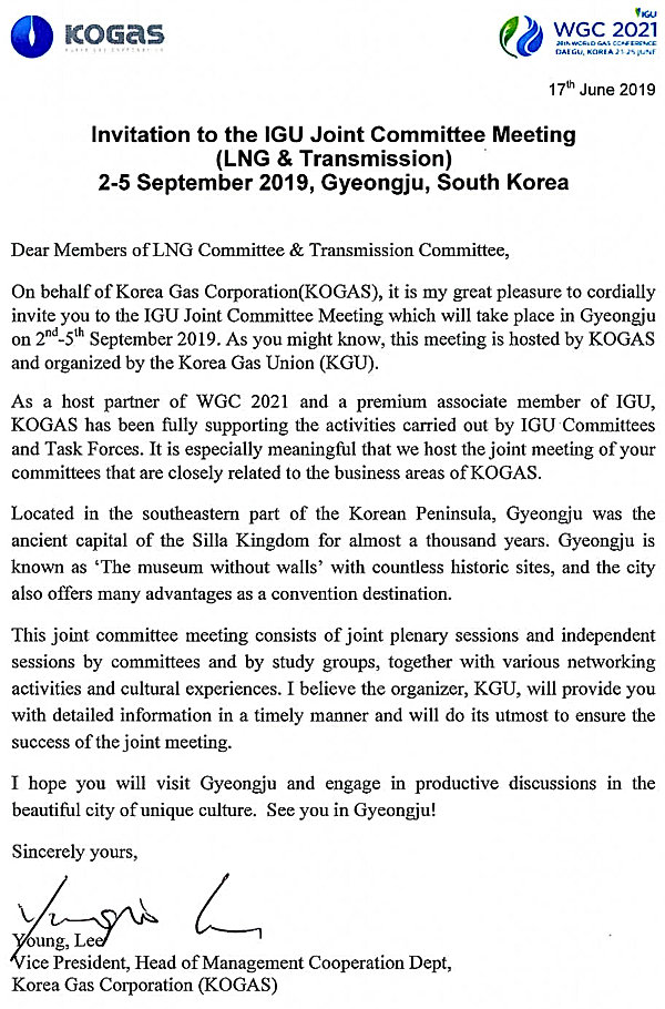 Invitation Letter from KOGAS (IGU Joint