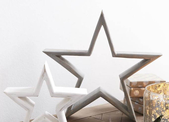 White and grey distressed stars