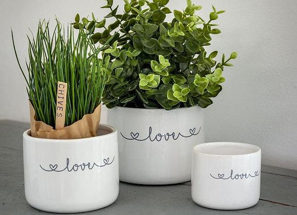 Set of three ceramic pots (white)