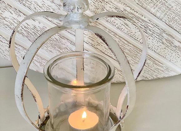 White rustic crown tea light holder