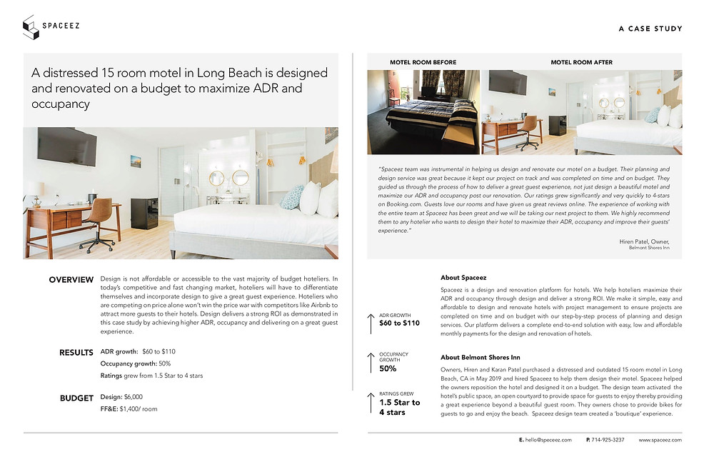 Case study of a motel upgrade by Spaceez.