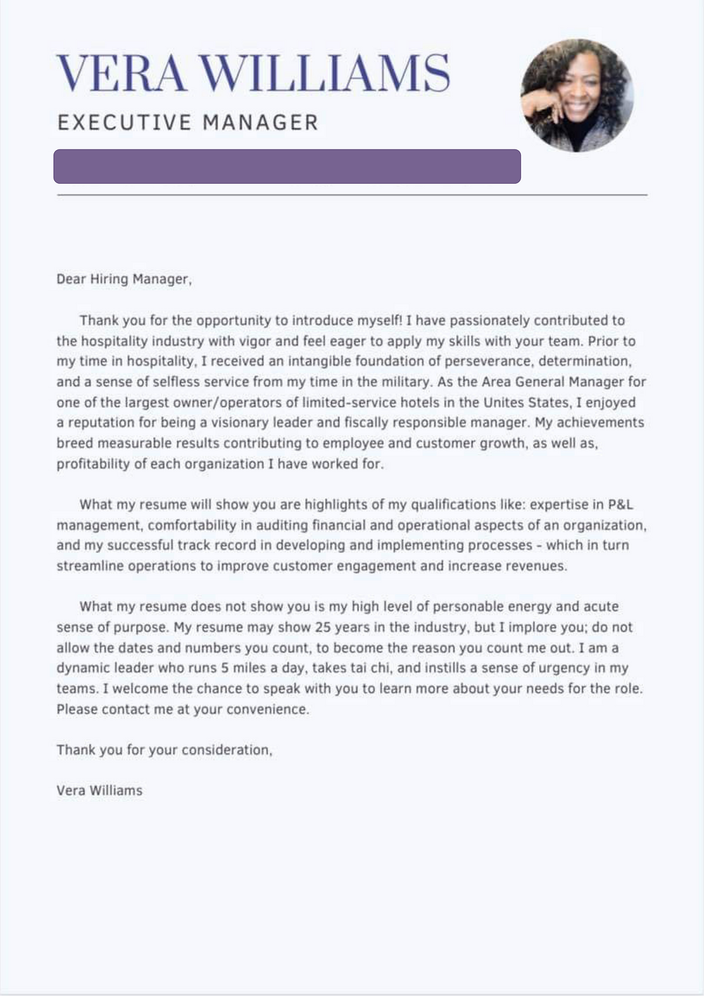 Successful cover letter for 50 plus woman
