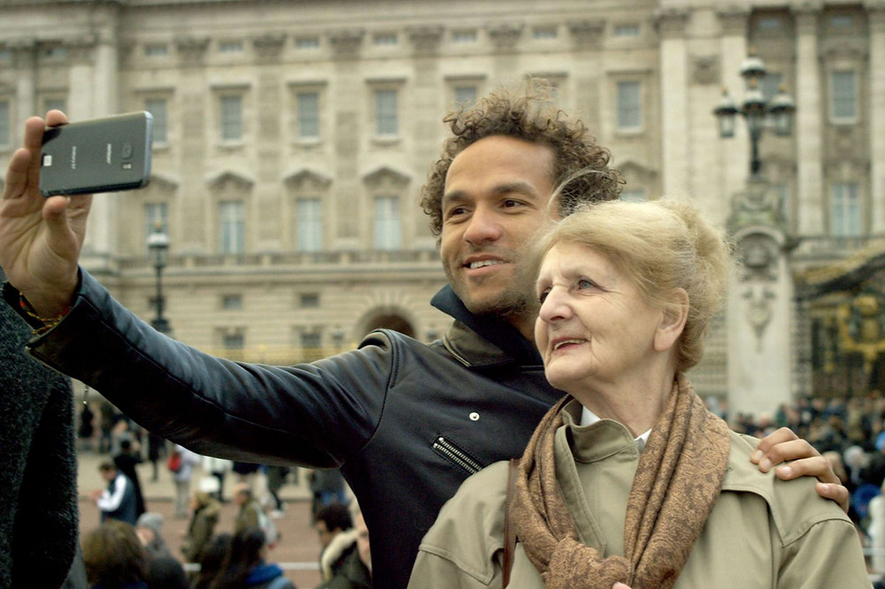 """""""Duty Free"""" is a film by director Sian-Pierre Regis in photo with his 75-year-old mother.  Courtesy of 42 West"""