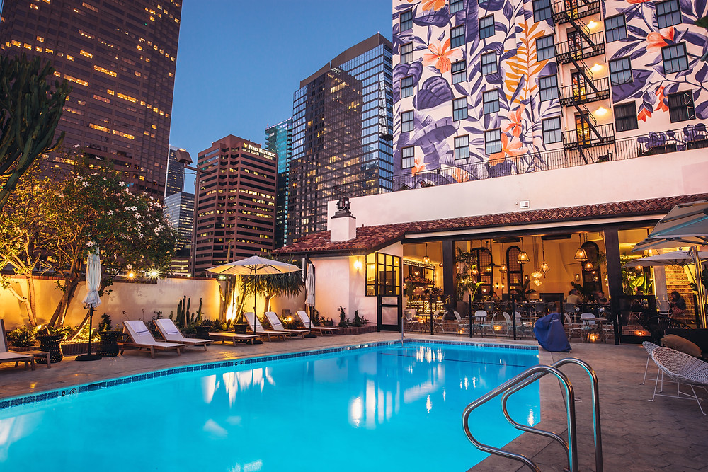 The iconic pool at The Fig/ photo courtesy Hotel Figueroa