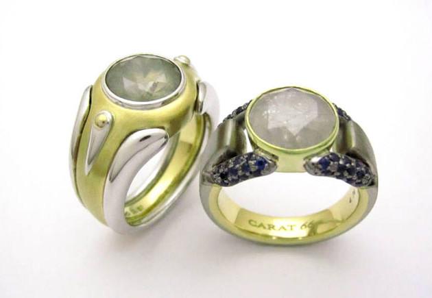 左:K18WG/YG 3.0ctアイシーブラウンダイヤモンド 右:K18YG/GG/BG 4.0ctアイシーダイヤモンド サファイア