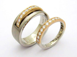 Mens Ring PT900/K18YG ダイヤモンド Ladies Ring K18WG/YG ダイヤモンド