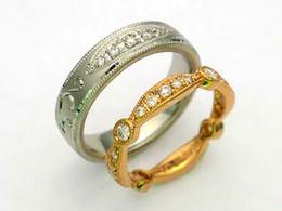 Mens Ring Pt900 ダイヤモンド Ladies Ring K18YG ダイヤモンド