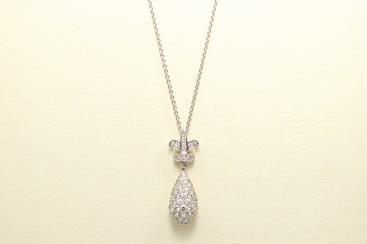 K18WG ダイヤモンド パヴェセッティング ネックチャーム