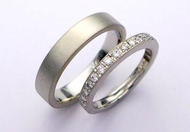 Mens Ring Pt900 梨地仕上げ Ladies Ring Pt900 ダイヤモンド