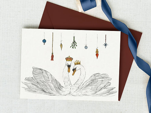 'Mistletoe Kisses & Christmas Wishes' hand illustrated Christmas card