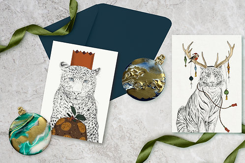 'Christmas Menagerie' hand illustrated cards, pack of 3