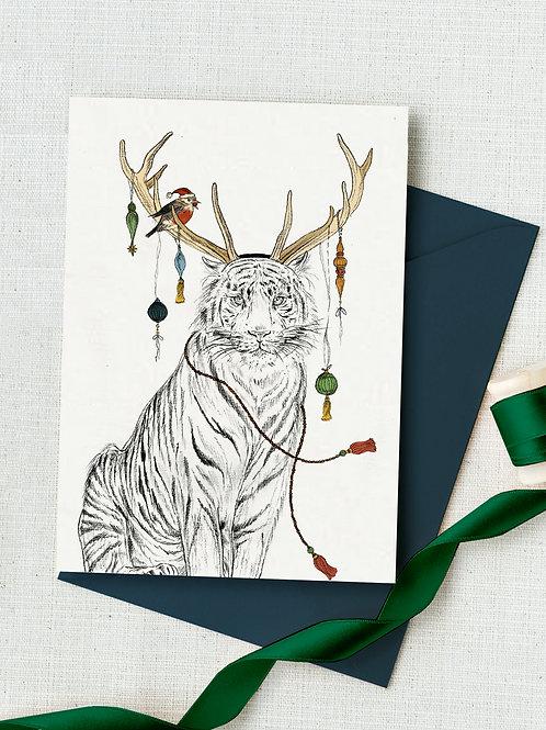 'Santas Little Helper' hand illustrated Christmas card
