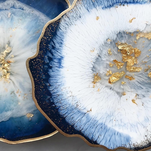 'A Winter's Tale, Gold Edition' handmade geode coasters, set of 4