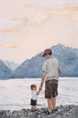 Father and Son on the Shore of Jackson Lake