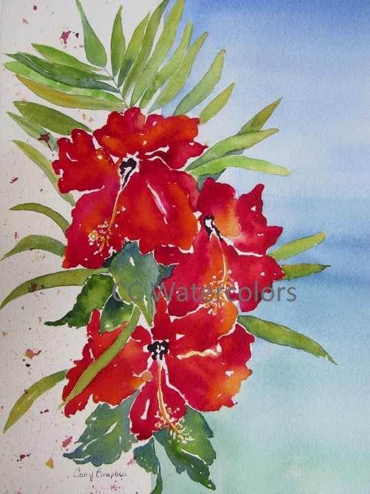 """Red Hibiscus, Turquoise Sea"""