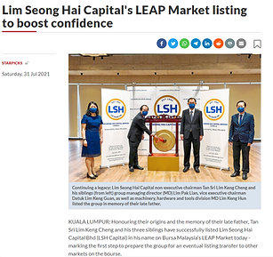 The Star - LSH Capital's LEAP Market listing to boost confidence 2021.07.31.png