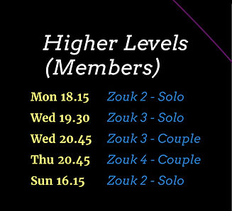 Zouk Classes - Higher Levels