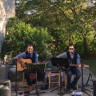 Playing an acoustic set in the South of France