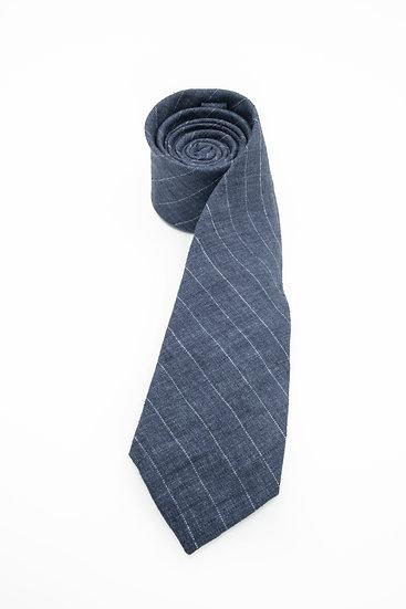 Pure Linen Tie - Delave Navy Pin Stripe