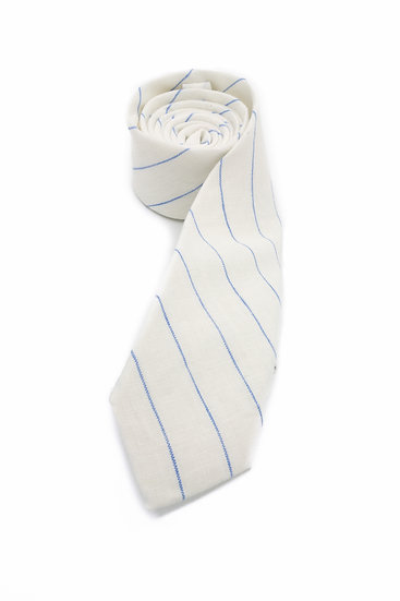 Pure Linen Tie - Blue Pin Stripe on White