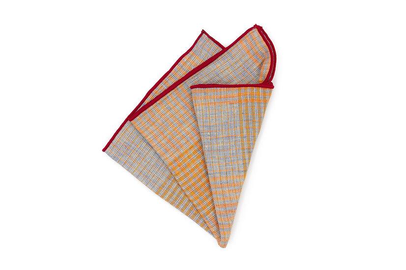 Pocket Square - Orange Concrete Glen Check